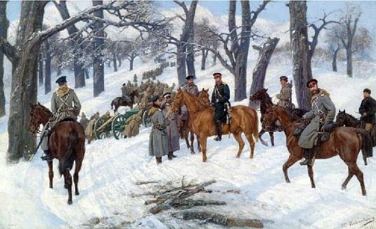Image result for зимното преминаване на Гурко през Балкана картини Верешчагин